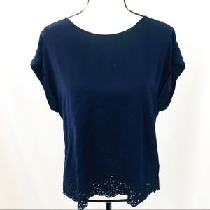 • J. Crew • Navy Scalloped Cutout Blouse
